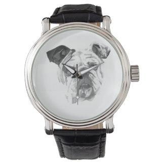 Amerikanische Bulldogge Greyscale Armbanduhr