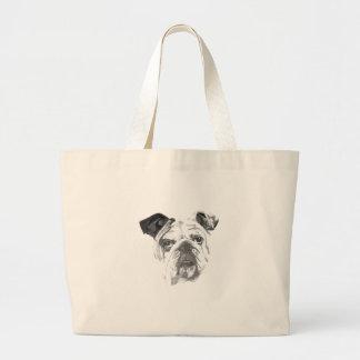 Amerikanische Bulldogge Greyscale Jumbo Stoffbeutel