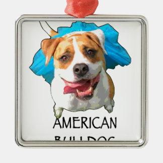 amerikanische Bulldogge Quadratisches Silberfarbenes Ornament