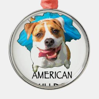 amerikanische Bulldogge Rundes Silberfarbenes Ornament