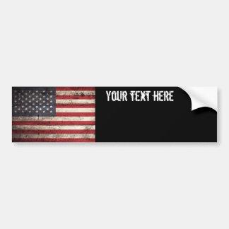 Amerikanische Flagge auf altem hölzernem Korn Autoaufkleber