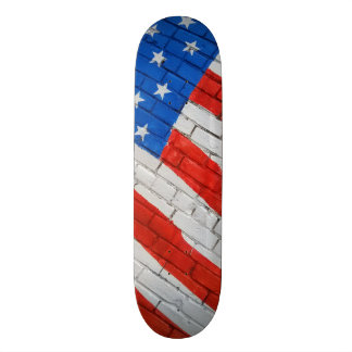 Amerikanische Flagge auf Ziegelstein-Skateboarding Personalisiertes Deck