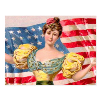 Amerikanische Flagge Damen-Liberty Postkarte
