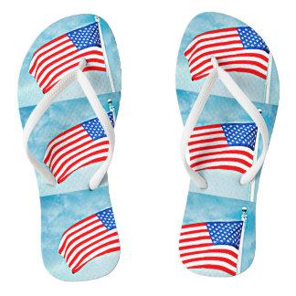 Amerikanische Flagge drehen Reinfall-Schuhe um Flip Flops