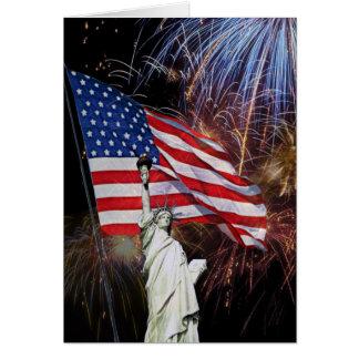 Amerikanische Flagge, Feuerwerke und Karte