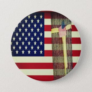 Amerikanische Flagge - gelbe Band-Stütztruppen Runder Button 7,6 Cm
