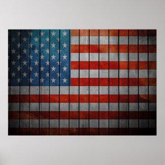 Amerikanische Flagge gemalter Zaun Poster