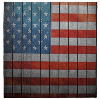 Amerikanische Flagge gemalter Zaun Stoffserviette