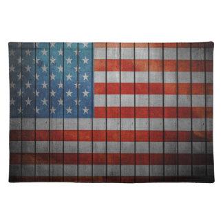 Amerikanische Flagge gemalter Zaun Stofftischset