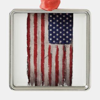 Amerikanische Flagge hölzerner Grunge Vintag Silbernes Ornament
