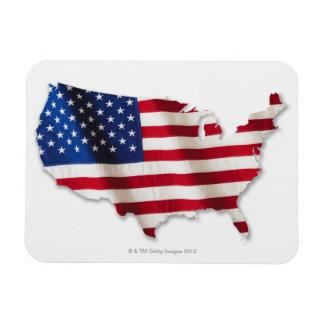 Amerikanische Flagge in der Form von Vereinigten Rechteckiger Fotomagnet