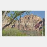 Amerikanische Flagge in Zion Nationalpark I Rechteckiger Aufkleber