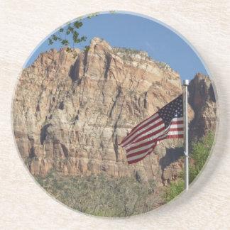 Amerikanische Flagge in Zion Nationalpark I Sandstein Untersetzer