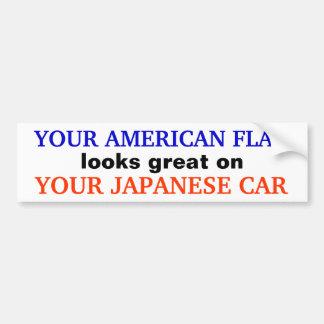 """AMERIKANISCHE FLAGGE/JAPANISCHES AUTO"" AUTOAUFKLEBER"