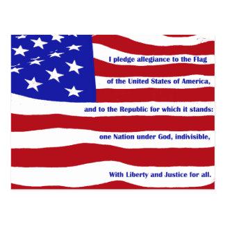 Amerikanische Flagge mit Bürgschaft auf Streifen Postkarte