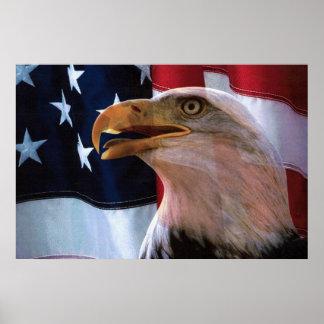 Amerikanische Flagge mit einem Weißkopfseeadler Poster