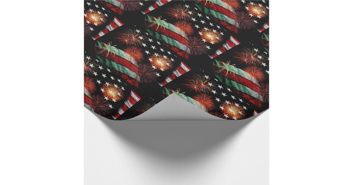 amerikanische flagge mit feuerwerken geschenkpapier zazzle. Black Bedroom Furniture Sets. Home Design Ideas