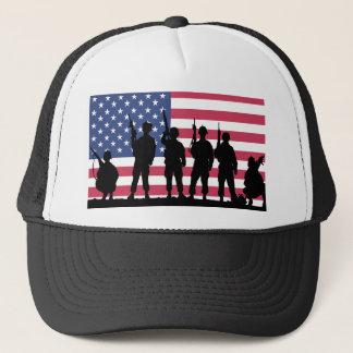 Amerikanische Flagge mit Soldat-Silhouette Truckerkappe