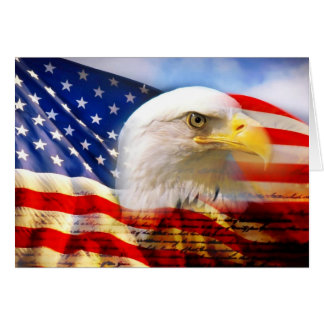Amerikanische Flagge mit Weißkopfseeadler Grußkarte