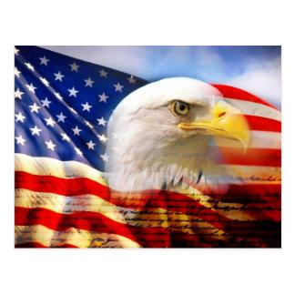 Amerikanische Flagge mit Weißkopfseeadler Postkarte
