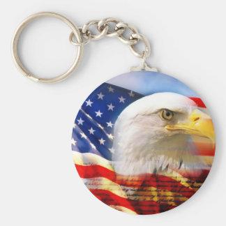 Amerikanische Flagge mit Weißkopfseeadler Standard Runder Schlüsselanhänger