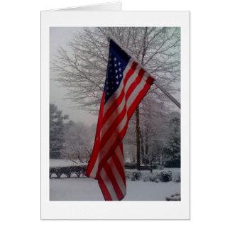 Amerikanische Flagge nach Schneefällen Karte