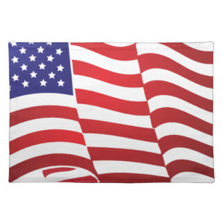 AMERIKANISCHE FLAGGE ONDULATING - GROSSE STOFFTISCHSET