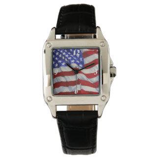 Amerikanische Flagge - quadratische Uhr
