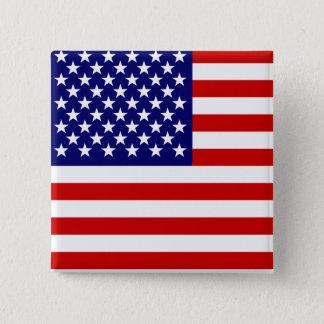 Amerikanische Flagge Quadratischer Button 5,1 Cm