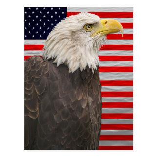 Amerikanische Flagge und Adler Postkarte
