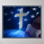 Amerikanische Flagge und christliches Kreuz, Fasch Posterdrucke