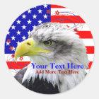 Amerikanische Flagge und Eagle-Aufkleber Runder Aufkleber