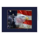 Amerikanische Flagge und Eagle danken Ihnen zu kar Karte