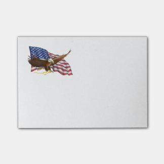 Amerikanische Flagge und Eagle Post-it Klebezettel