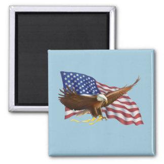 Amerikanische Flagge und Eagle Quadratischer Magnet
