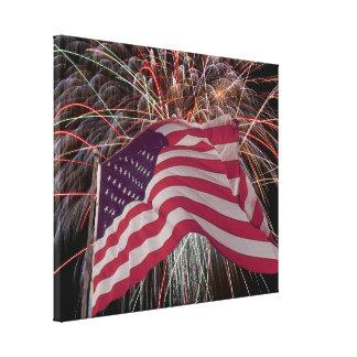Amerikanische Flagge und Feuerwerke Leinwanddruck