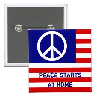 Amerikanische Flagge und Friedenszeichen Quadratischer Button 5,1 Cm