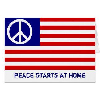 Amerikanische Flagge und Friedenszeichen Grußkarte