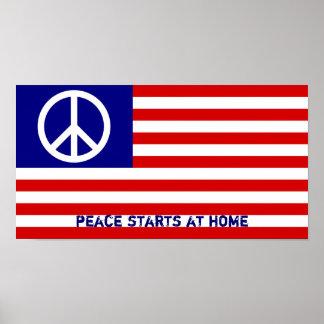Amerikanische Flagge und Friedenszeichen Poster