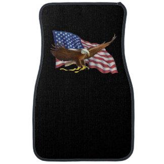 Amerikanische Flagge und schwarze Auto-und Autofußmatte