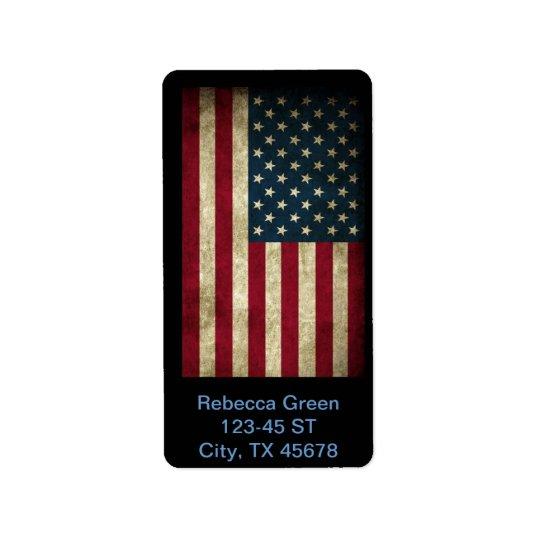 Amerikanische Flagge Vintager patriotischer Grunge Adressaufkleber
