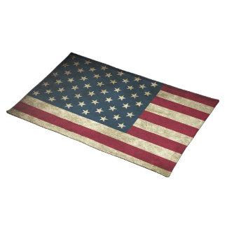 Amerikanische Flagge Vintager patriotischer Grunge Stofftischset