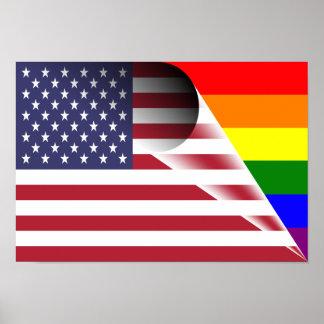 Amerikanische Flaggen-Gay Pride-Regenbogen-Flagge Poster
