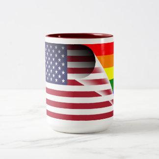 Amerikanische Flaggen-Gay Pride-Regenbogen-Flagge Zweifarbige Tasse