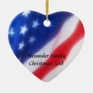 Amerikanische Flaggen-Herz-personalisierte Verzier Weihnachtsbaum Ornamente