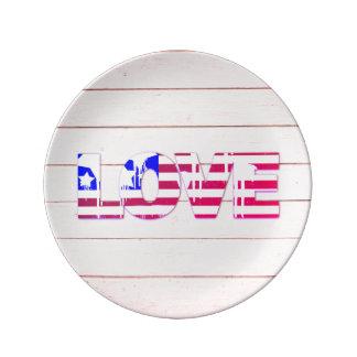 Amerikanische Flaggen-Liebe-Porzellan-Platte Porzellanteller