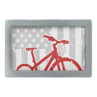 Amerikanische Flaggen-radfahrenT - Shirt Rechteckige Gürtelschnalle
