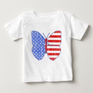 Amerikanische Flaggen-Schmetterling (Vintag) Baby T-shirt