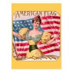 Amerikanische Flaggen-Vintage Werbung Postkarte