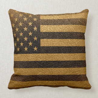 Amerikanische Flaggen-Vintages Leder #2 Kissen